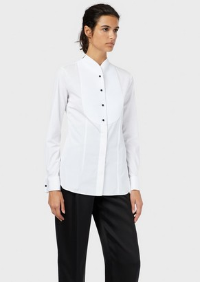 Giorgio Armani Cotton Poplin Tuxedo Shirt With Plastron