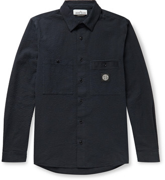 Stone Island Garment-Dyed Logo-Appliqued Button-Down Collar Cotton-Seersucker Shirt Jacket