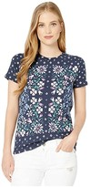 Lucky Brand Floral Scarf Print Tee (American Navy) Women's Clothing