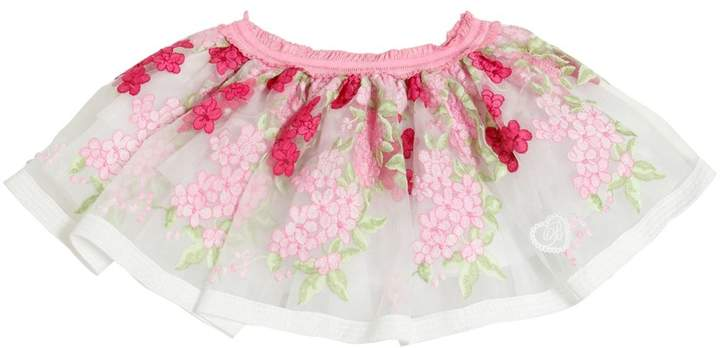 Miss Blumarine Embroidered Organza & Tulle Skirt