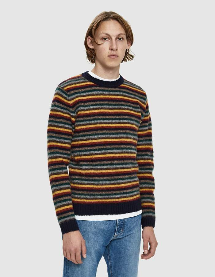 Norse Projects Sigfred Brushed Stripe Sweater in Multi Colour