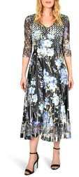 Komarov Floral Print V-Neck Charmeuse Tea Length Dress