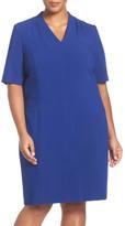 Tahari Tuck Detail Seamed Sheath Dress (Plus Size)