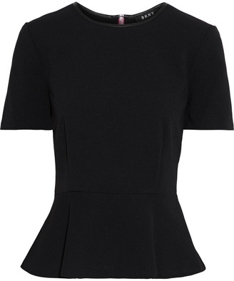 DKNY Faux Leather-trimmed Crepe Peplum Top