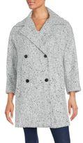 Vince Herringbone Knitted Wool Blend Coat