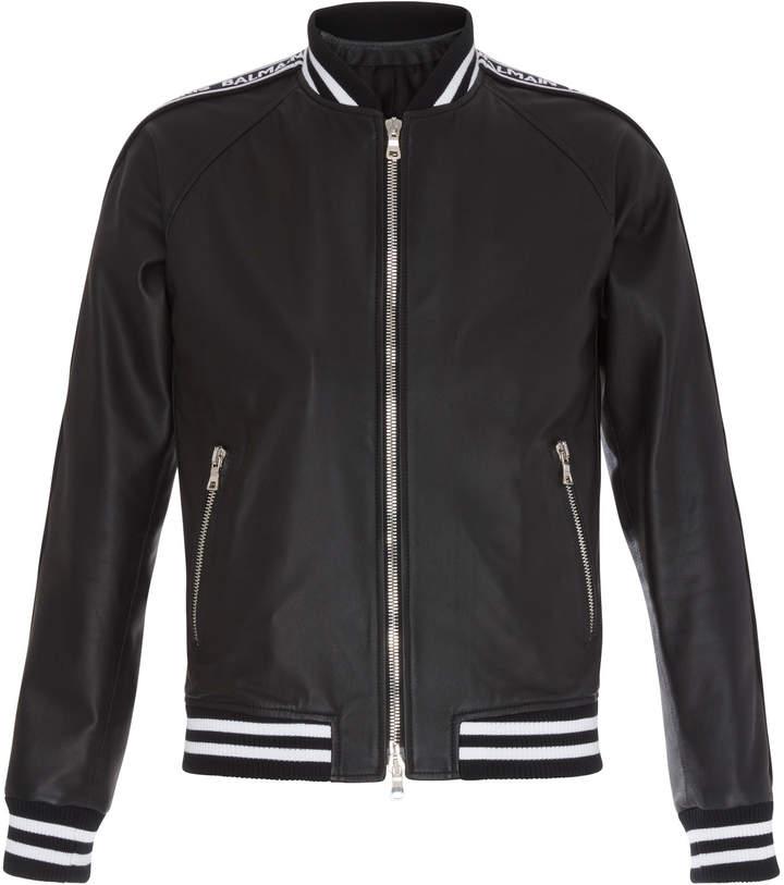 Balmain Logo Leather Bomber Jacket