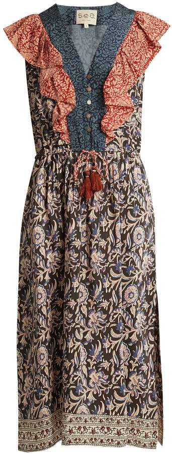Sea Maho Border floral-print silk dress