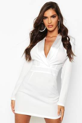 boohoo Satin Mix Fitted Blazer Dress