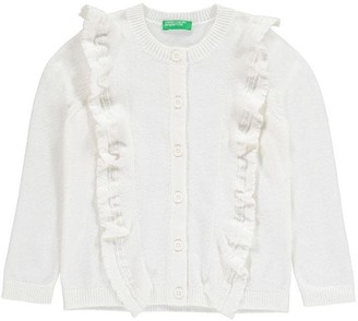 Benetton Knitwear Cardigan with Ruffle