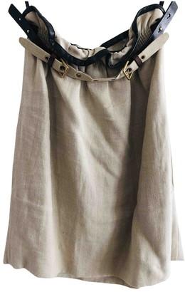 Celine Beige Linen Skirt for Women