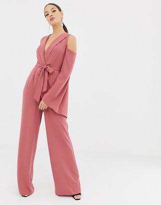 Asos DESIGN clean tux cold shoulder tie waist jumpsuit