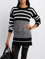 Charlotte Russe Marled & Striped Crew Neck Sweater