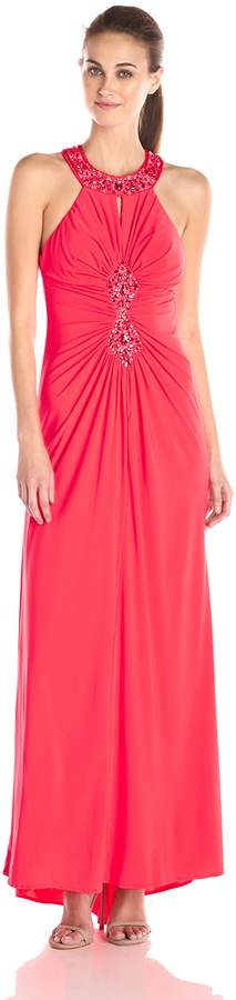 Ignite Women's Jewled Neck Rouched Bodice Sequened Knit Gown