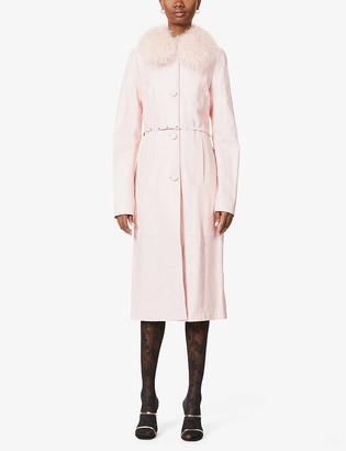 Saks Potts Charlot faux-fur-trim leather coat
