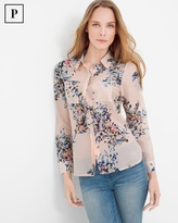 White House Black Market Petite Cotton and Silk-Blend Pink Floral Shirt