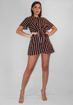 Missguided Burgundy Stripe Tie Front Mini Dress