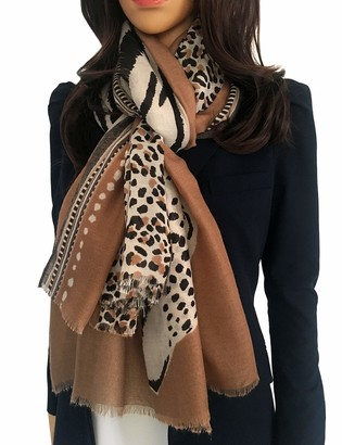 The Accessory Co. Large Women Leopard Print Scarf - Ladies Scarves Leopard Print Gifts Animal Pashmina Shawl Long Winter Wrap Wearable Blanket
