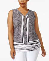 INC International Concepts Plus Size Printed Zip-Front Top, Created for Macy's