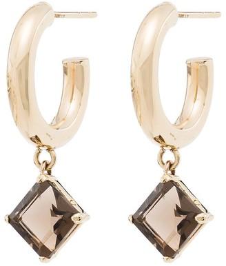 Loren Stewart 10kt Gold Quartz Hoop Earrings