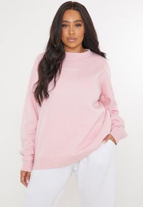 Missguided Plus Size Pink Oversized Sweatshirt