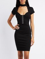 Charlotte Russe Hook-And-Eye Detail Bodycon Dress