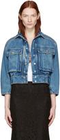 Dolce & Gabbana Blue Cropped Denim Jewelled Jacket