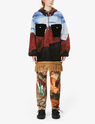 Palm Angels Canyon Pile abstract-print fringe fleece jacket