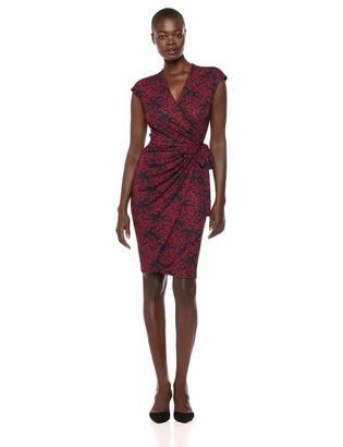 Lark & Ro Amazon Brand Women's Classic Cap Sleeve V-Neck Compact Matte Jersey Wrap Dress