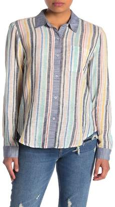Splendid Playa Stripe Linen Blend Shirt