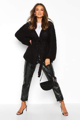boohoo Premium Hand Knitted Belted Cardigan