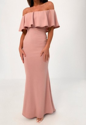 Missguided Blush Ruffle Bardot Fishtail Maxi Dress