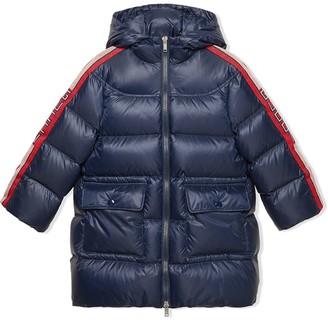 Gucci Kids Logo Stripe Padded Coat