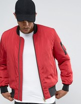 Asos Bomber Jacket With MA1 Pocket In Red with Gold Zips