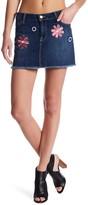 Genetic Los Angeles Lyndsay Embellished Frayed Hem Denim Skirt