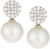 Belpearl 18k White South Sea Pearl & Diamond Pave Drop Earrings