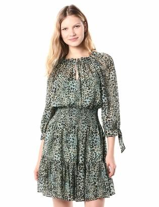 Rebecca Taylor Women's Long Sleeve Animal Print Tie Dress with Cinched Waistline