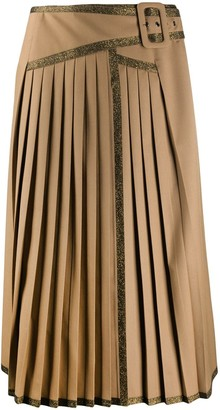 Marco De Vincenzo Pleated Metallic Trim Skirt