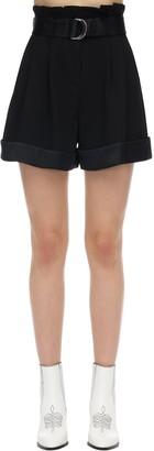 Karl Lagerfeld Paris High Waist Crepe & Satin Shorts