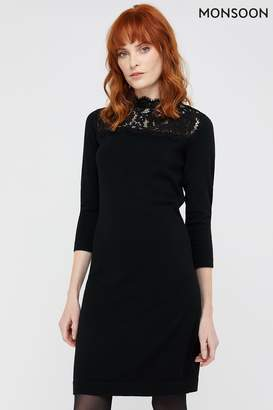 Monsoon Womens Black Lacey Recycled Polyester Dress - Black