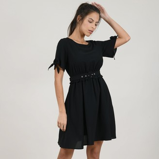 Molly Bracken Flared Mini Dress with Tie-Waist and Short Sleeves
