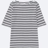 Uniqlo Women's Striped Ribbed Boat Neck Half-sleeve T-Shirt
