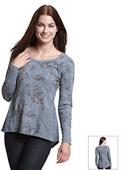 Eyeshadow Juniors' Floral Print Thermal Top