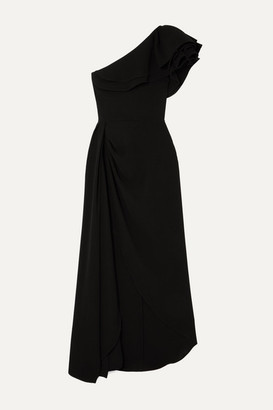 Elie Saab One-shoulder Ruffled Cady Gown - Black