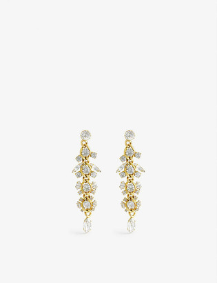 Susan Caplan Vintage Pre-loved gold-plated crystal chandelier earrings