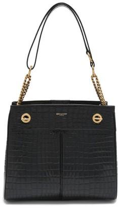 Saint Laurent Pirovano Crocodile-effect Leather Tote Bag - Black