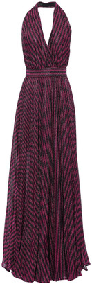 Philosophy di Lorenzo Serafini Open-back Metallic Striped Lame Halterneck Maxi Dress