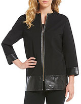 Ming Wang Jewel Neck Faux-Leather Trim Jacket