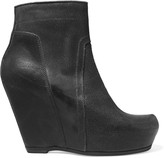 Rick Owens Cracked-leather wedge ankle boots