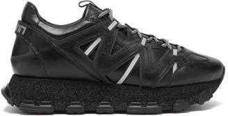 Lanvin Lightening Panelled Leather Trainers - Mens - Black