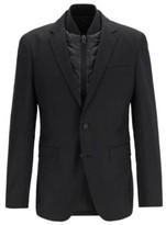HUGO BOSS - Slim Fit Jacket In Virgin Wool With Detachable Vest - Black